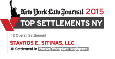 New York Law Journal Top Settlements 2015 - Stavros Sitinas